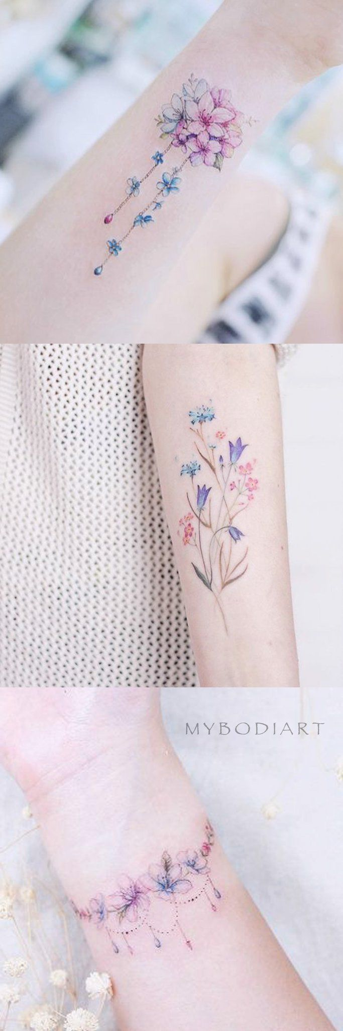 Cute Delicate Pretty Watercolor Floral Flower Arm Wrist Tattoo Ideas for Women – delicate floral flowers arm tattoo ideas for women – www.MyB …