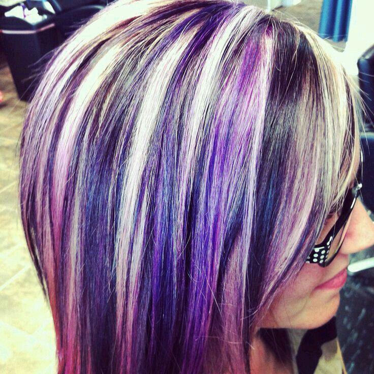 Purple Peak A Boo Lowlights Peekaboo Hair Short Blonde Hair Hair Highlights