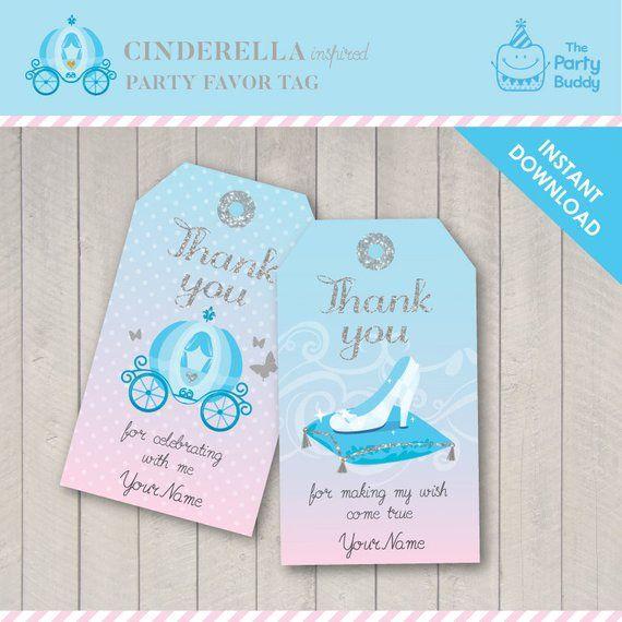 051123dec Favor Tag Cinderella | Blue Pink Silver | Digital Printable PDF | Instant  Download EDITABLE Text