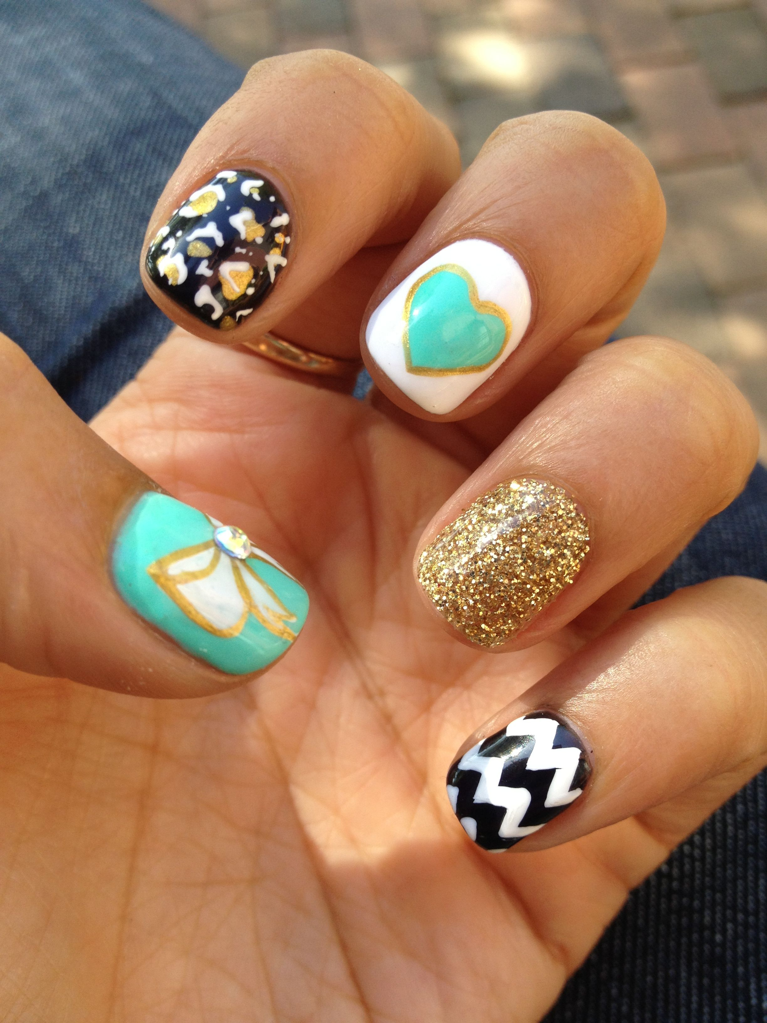 Every nail a different design. Cute!! | Beauty | Pinterest