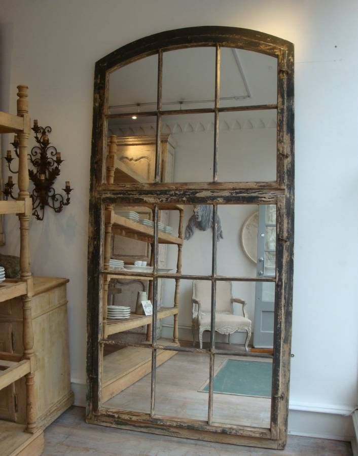 Large French Window Mirror In Antique Furniture From
