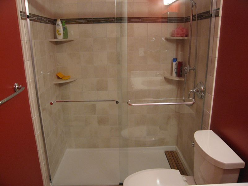 Tiled Shower Stall Designs | The bathtub was replaced with a large ...