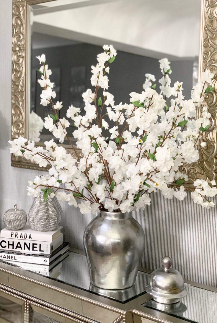 Christmas White Cherry Blossom Flowers Four 36 Inch Blossom Branches Wedding Party Eve In 2020 White Cherry Blossom Cherry Blossom Flowers Flower Table Decorations