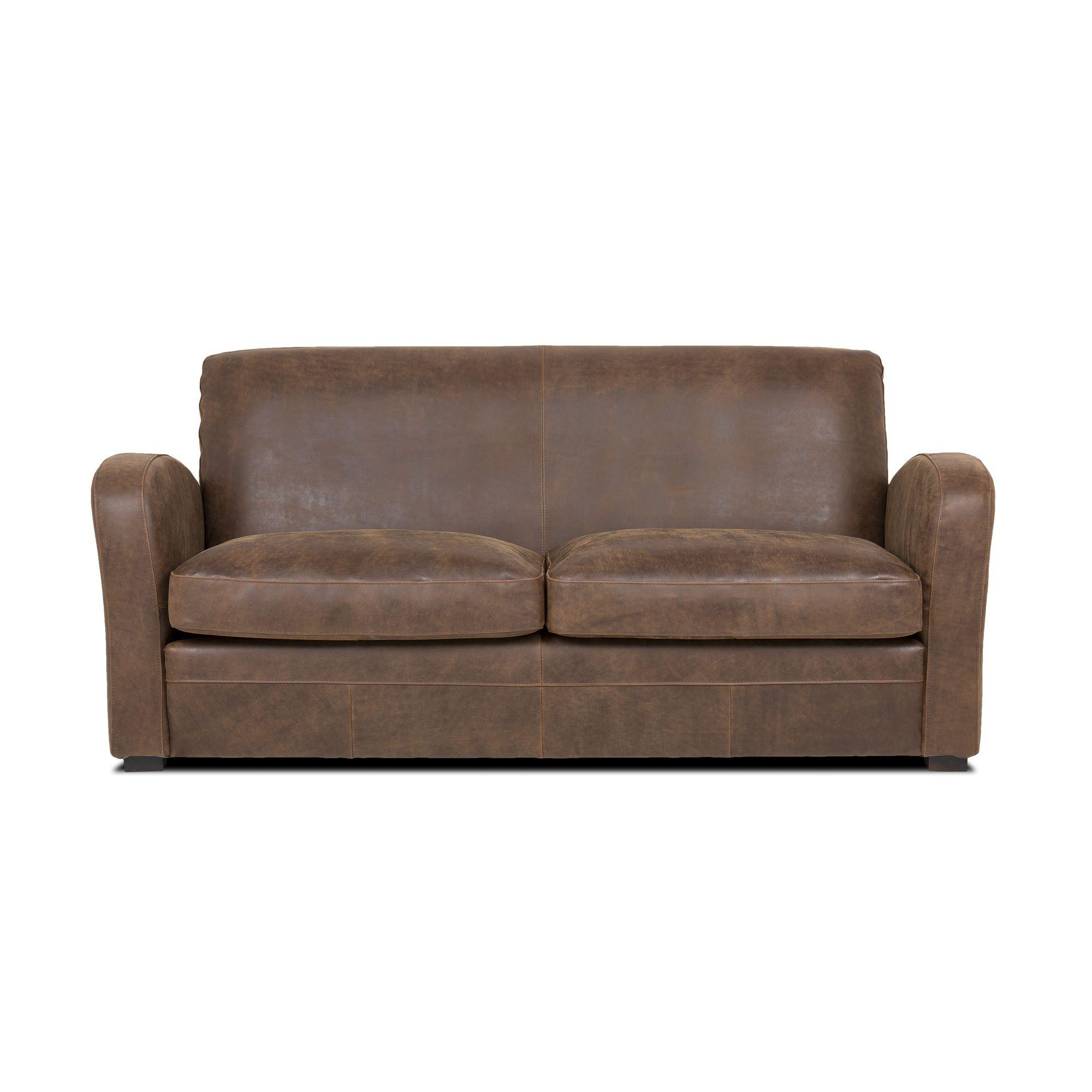 Canapé 3 places fixe en croute de cuir marron effet vieilli cuba salon canapés