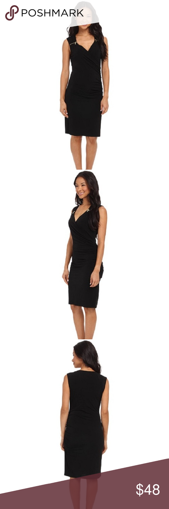 MICHAEL KORS BLACK Sweetheart Neck Sheath Dress MICHAEL Michael KORS BLACK Sweetheart Neck Sheath Dress w/ Zippers on Shoulders ( SIZE - X-SMALL ) RETAILS FOR $120.00 + TAX  Turn heads on any occasion with this stunning dress! It fits to your body and features  flattering ruching with edgy Decorative zipper accents on the shoulders. Side shirring at left creates a ruched look...Straight Hemline   Color: BLACK Shell: Polyester/Elastane Pullover Machine Wash, Tumble Dry  Approx. Measurements…