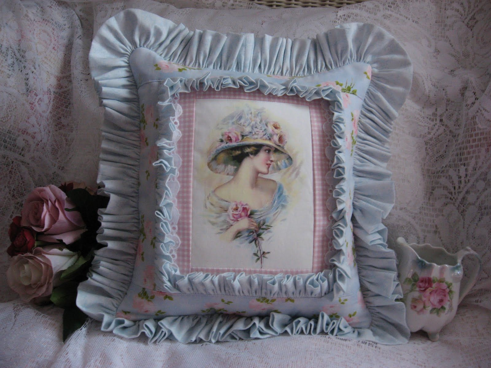 Lady in blue pillow Pillows Pinterest Blue pillows, Pillows and Shabby