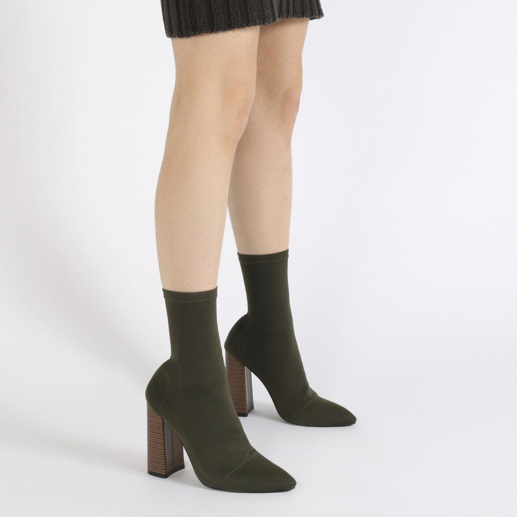 d7f216478983 Libby Flared Heel Sock Fit Ankle Boots in Khaki Stretch