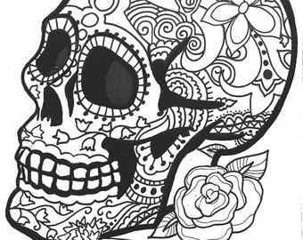 10 sugar skull day of the dead coloringpages original art coloring ... - Sugar Skull Coloring Pages Print