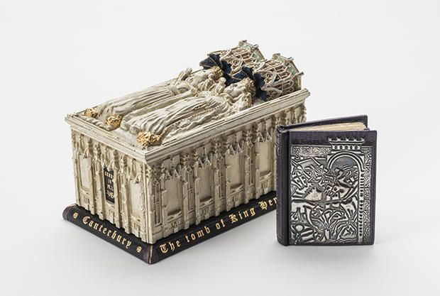 King Henry IV, Part 1 from Shakespeare's Works (New York: Knickerbocker Leather and Novelty Company, ca. 1910), bound by George Kirkpatrick, 2007, in leather with embossed silver covers, shown with casket enclosure made of resin, board, and leather, with paint and gold tooling, Collection of Neale and Margaret Albert  Nearly 100 miniature copies of books containing sonnets and plays, and books by and about Shakespeare, will be at Yale's new exhibit.