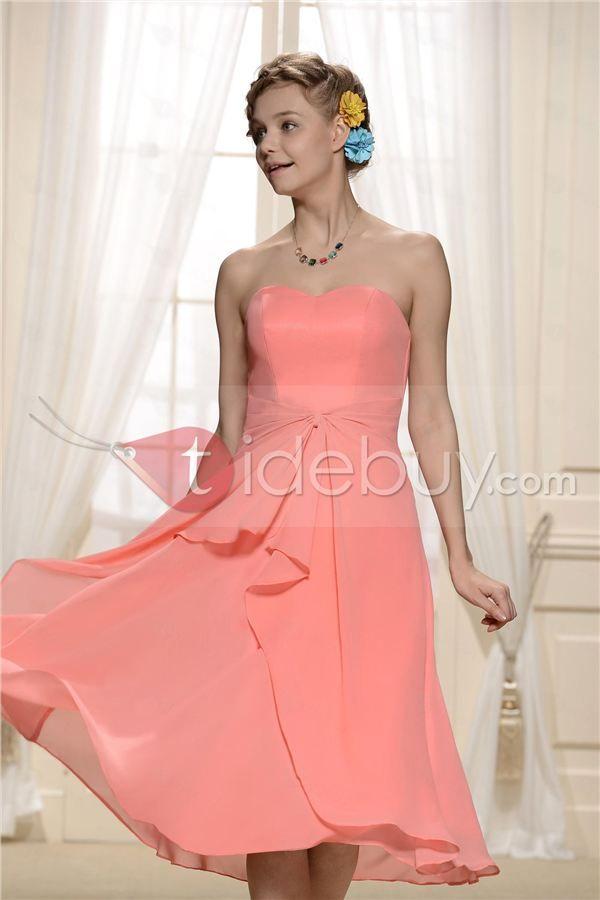 Encantador Vestidos de Dama de Honor con Pliegues y Largo de Té ...