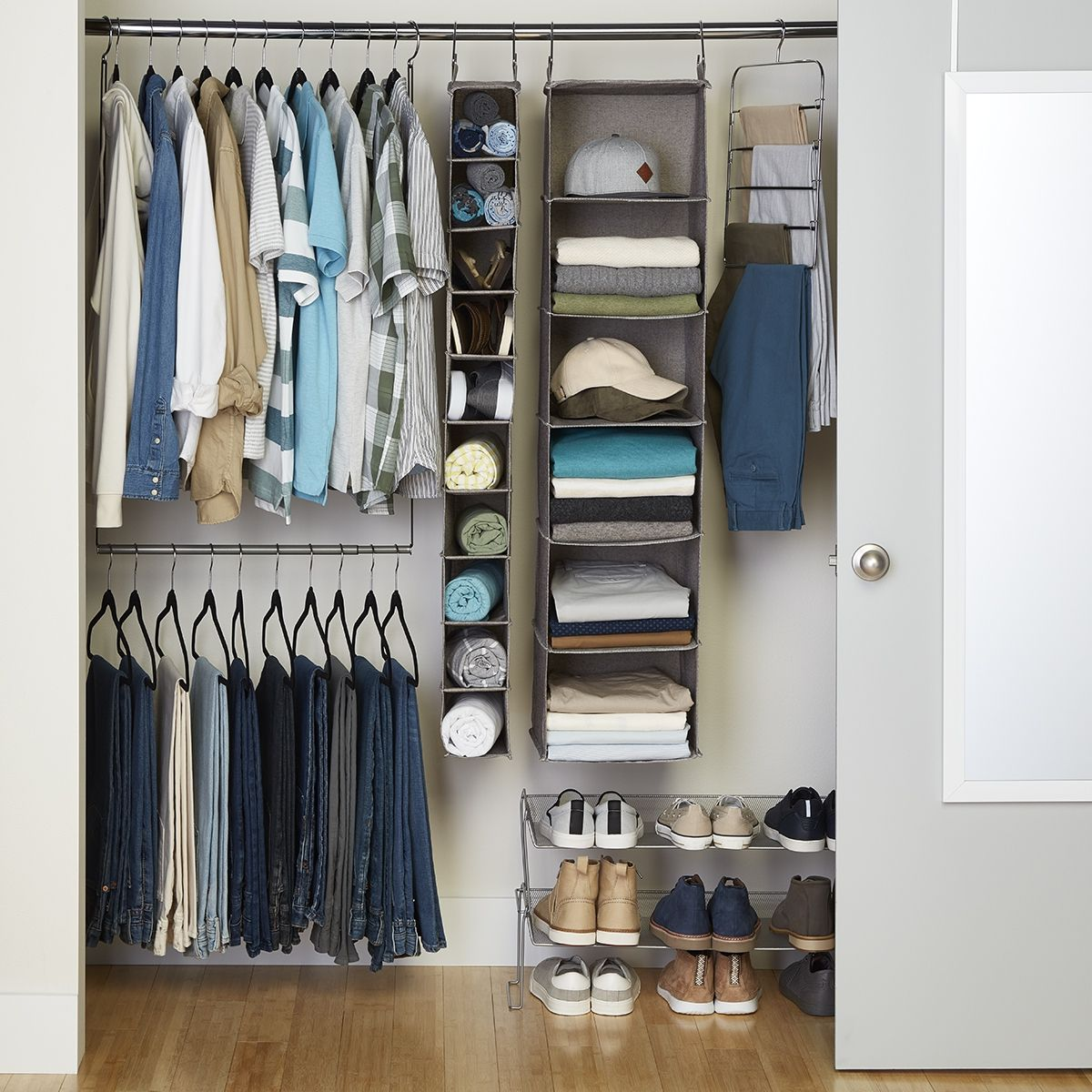 Small Closet No Problem Hanging Closet Organizers Are A Great Way To Make The Most Of The Vertical Space Hanging Closet Storage Hanging Closet College Closet