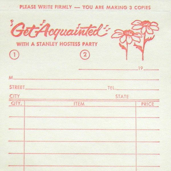 Vtg Stanley Home Products Hostess Order Form Sheet Stanhome