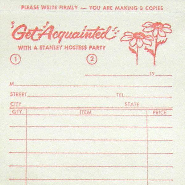 VTG Stanley Home Products Hostess Order Form Sheet Stanhome - sales order form