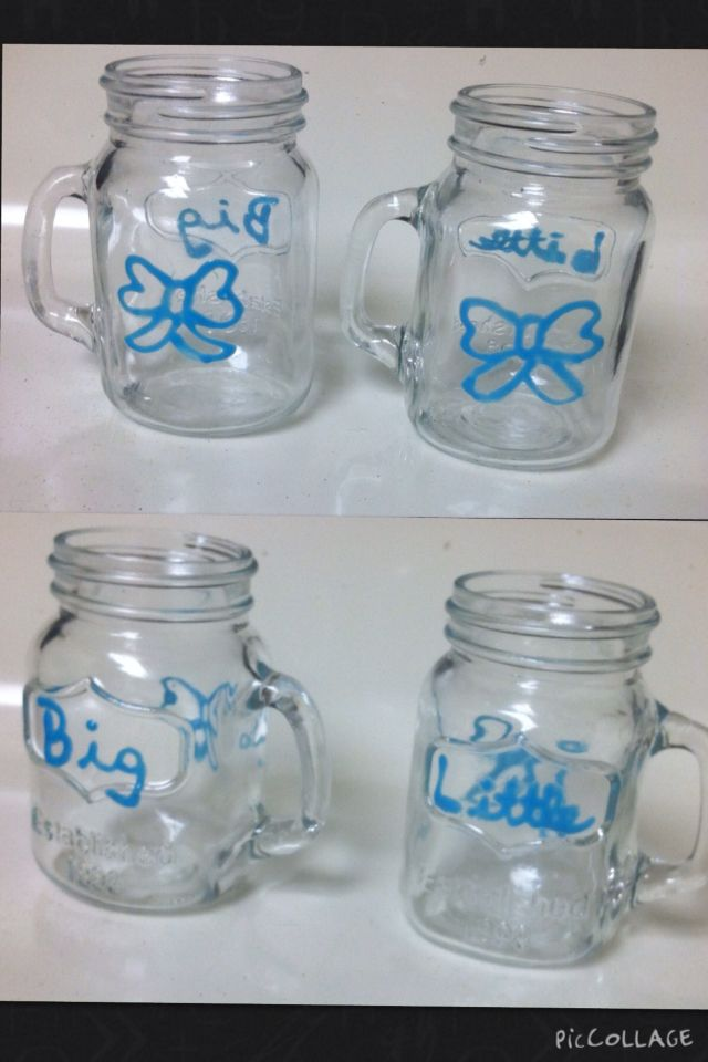 Big Little Mason Jar Shot Glasses Bow Diy Big Little Clue Mason Jar Shots Mason Jar Shot Glasses Mason Jar Mug