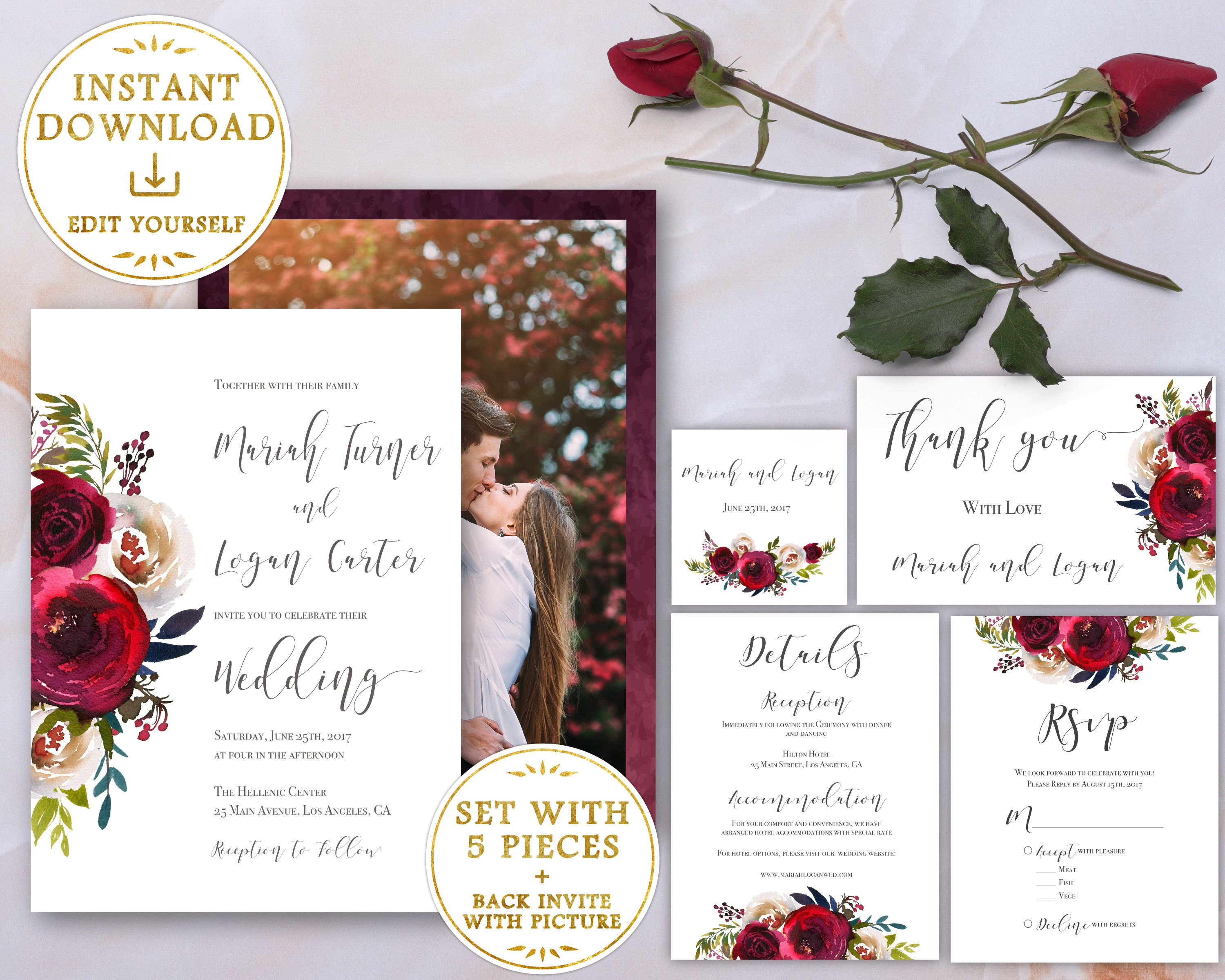 Wedding Invitation Wedding Invitation Template Set Printable Bundle Burgundy Floral With Photo Lds Wedding Wedding Invitation Templates Wedding Invitations Pearl Wedding Invitations