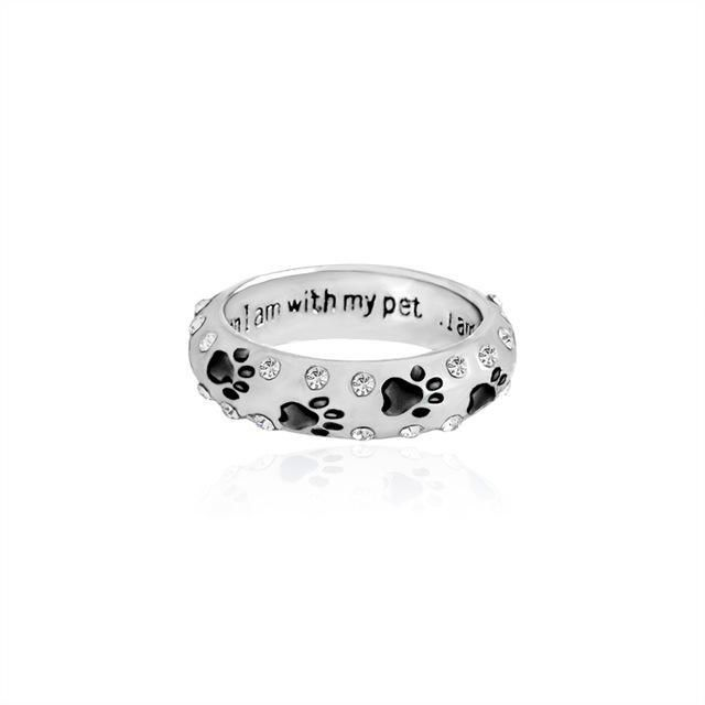 Dog paw Ring when I am with my pet I am complete