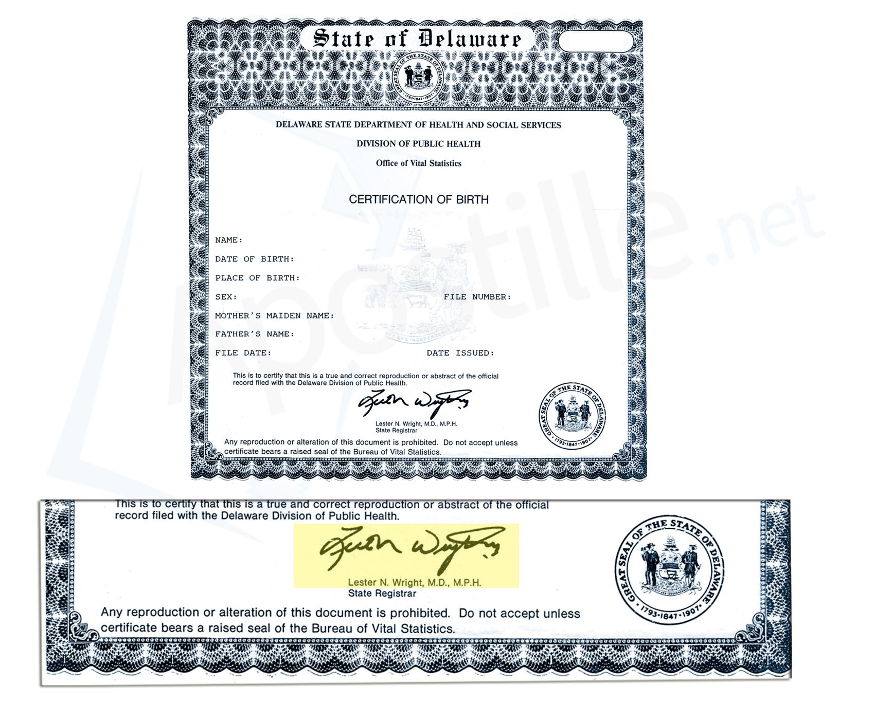 State Of Delaware Certification Of Birth Signed By Lester N Wright