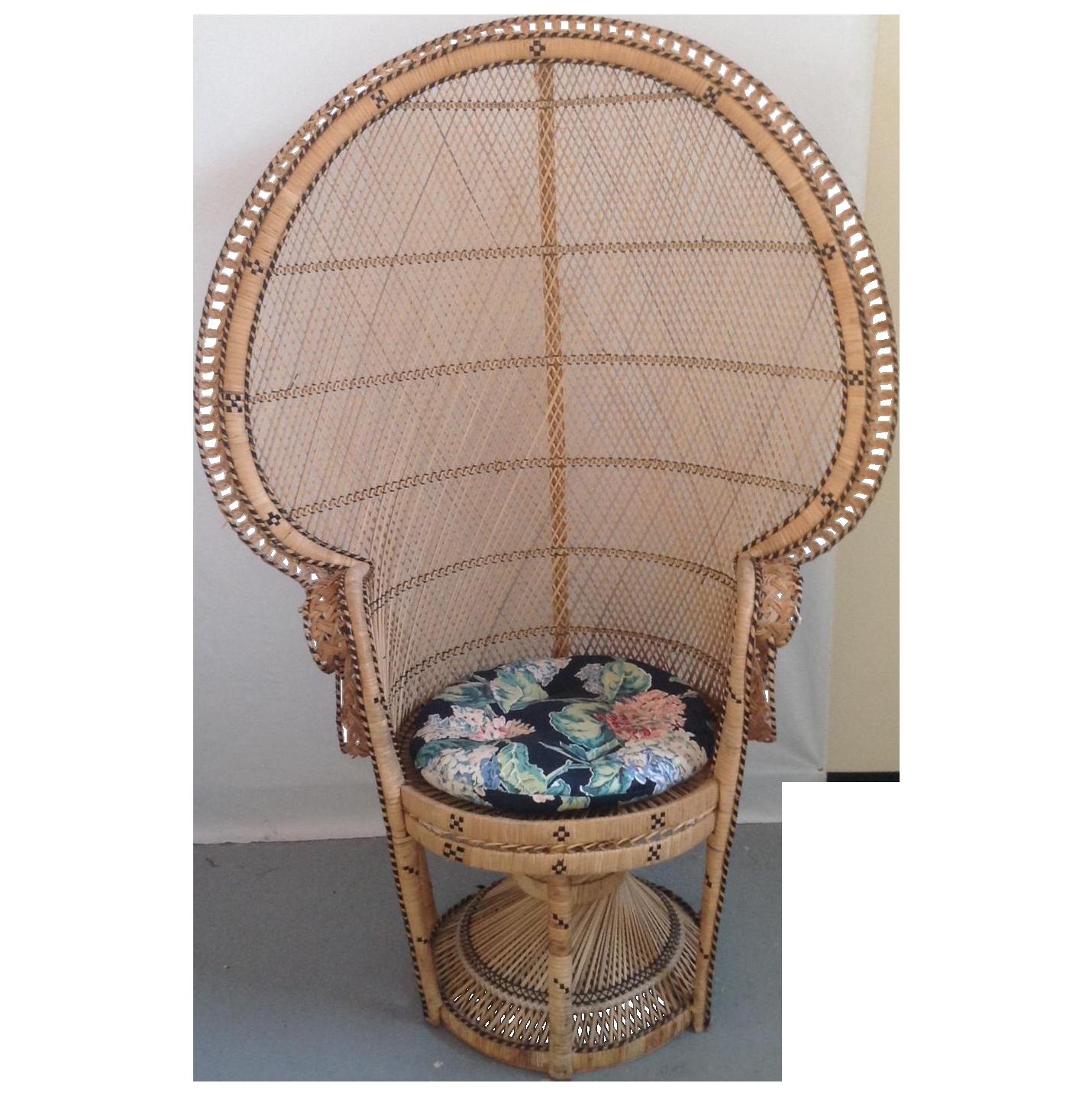 Mid Century Hollywood Regency Wicker Peacock Chair on Chairish