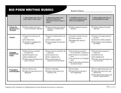 Bio Poem Rubric For Teachers  Rubrics Poem And Teacher