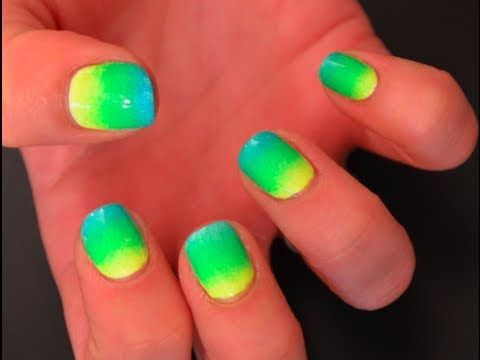 Easy Neon Ombre Nails Diy Neon Nails Neon Nail Art Neon Nail