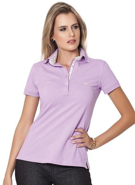 camisa polo feminina principessa lilas valquiria look  d987d6a4fd8e0