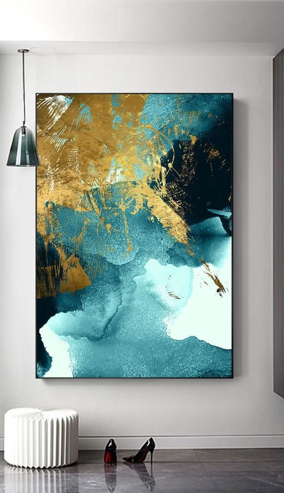 Photo of Home decor, living room, office, instant printable, Indigo Wall Art, Large Abstract gold foil printable, watercolor sea waves wall art,