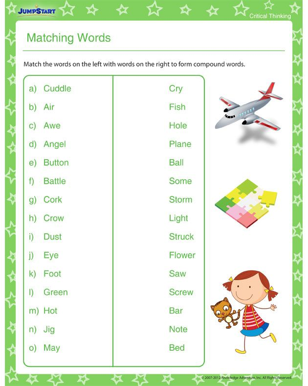 Matching Words - Download Free Critical Thinking Worksheet