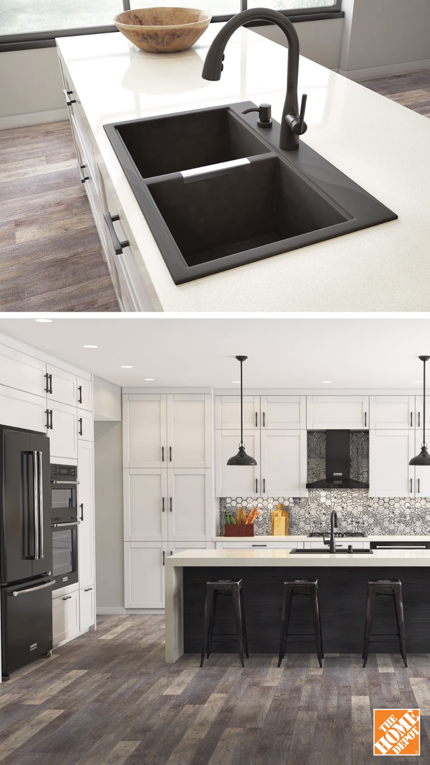Contrast Dark Fixtures With Light Cabinets To Turn Your Kitchen Into A Bold Style Statement Learn More At Homedepot Ca Cozinhas Casas Casa Fofa