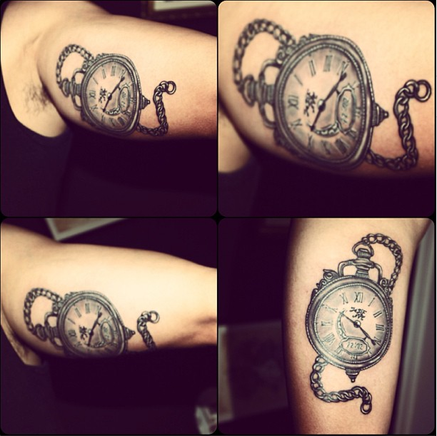Beekeeper Bee Clock Tattoo Realistictattoo Niki Norberg Webstagram Watch Tattoos Watch Tattoo Design Pocket Watch Tattoo Design