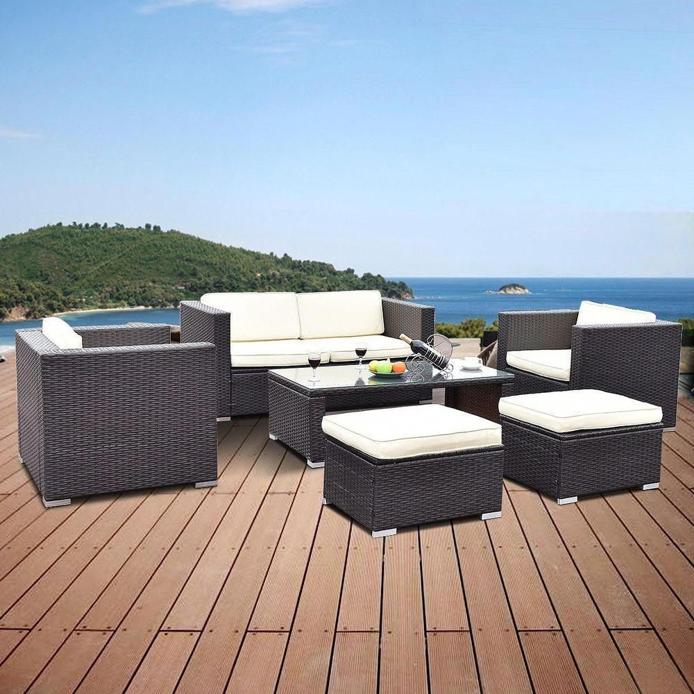 6pc patio rattan clearance furniture set outdoor wicker