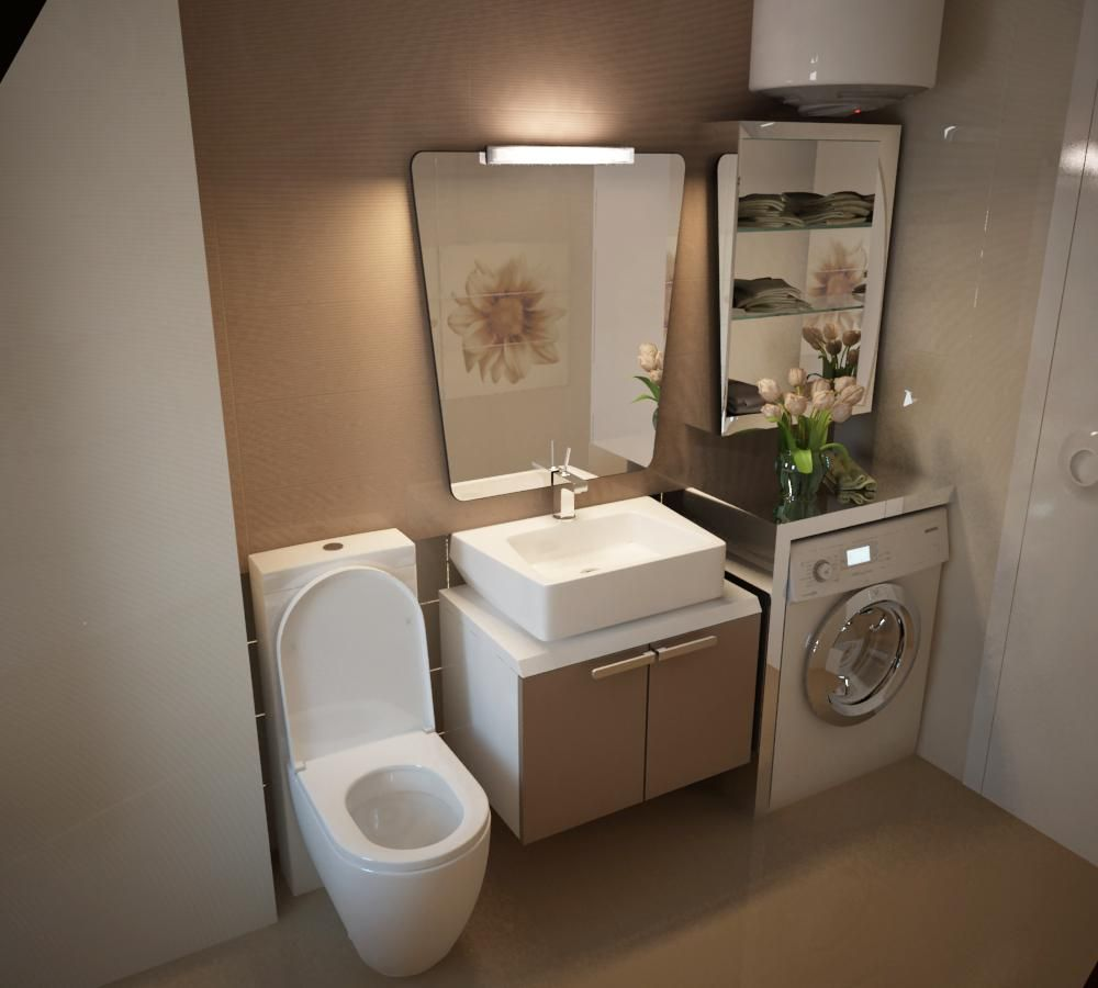 Small laundry room design with washing machine under for Toilet and bath design small space