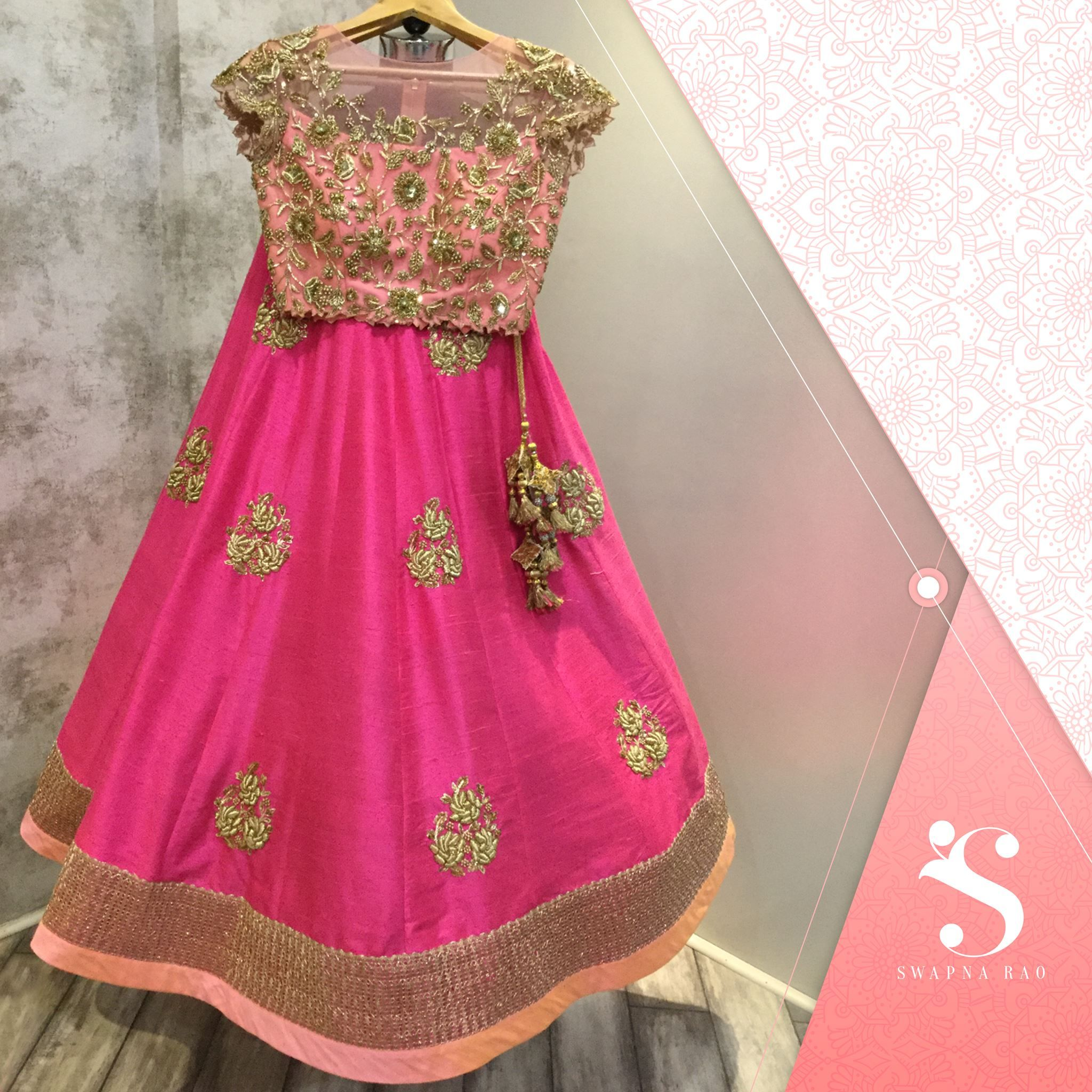 A soothing pink crop top and lehanga for summer occasions swapnarao ...
