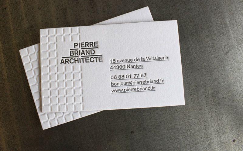 CARTE DE VISITE LETTERPRESS PIERRE BRIAND ARCHITECTE House Of Press Impression Typographique Typographie