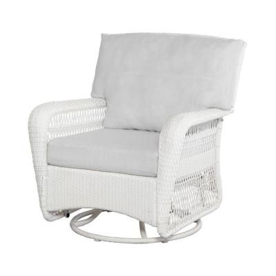 Martha Stewart Living Charlottetown White All Weather Wicker Patio Swivel  Rocker Lounge Chair With Bare