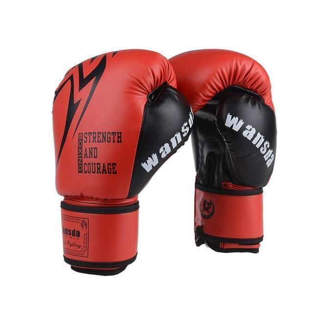 1 Pair Breathable MMA Boxing Gloves Solid Color Full Finger for Adult