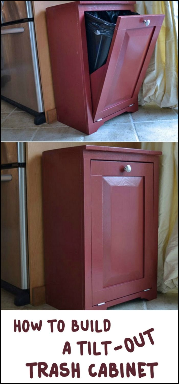 Hide Your Trash Bin By Building A Tilt Out Trash Cabinet Dog Food Storage Diy Recycle Trash Diy Cabinets