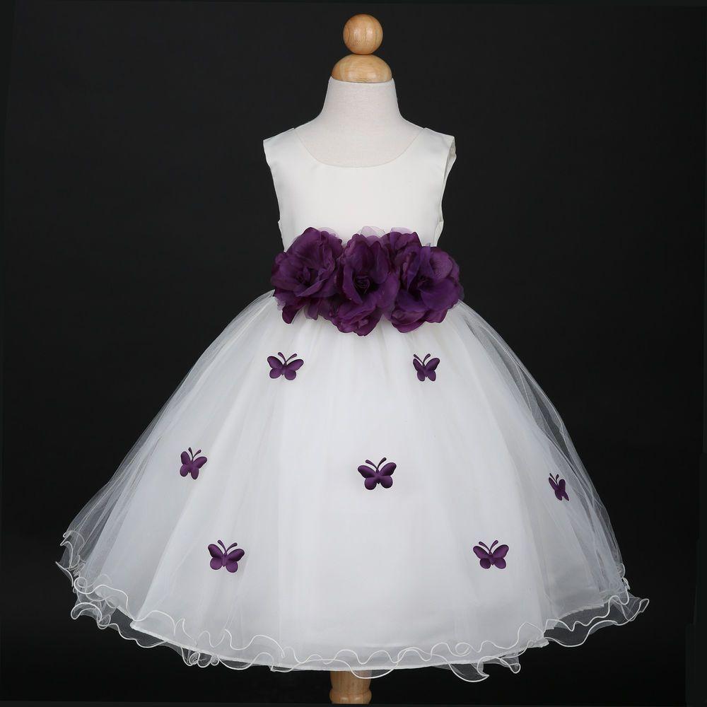 Ivoryplum purple bridesmaid wedding flower girl dress 6m