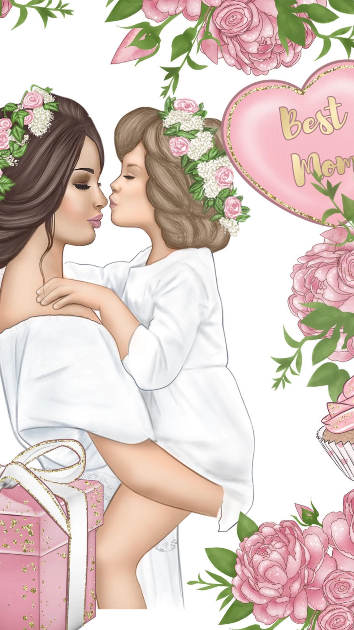 нц-а мама и дочка открытка женщины