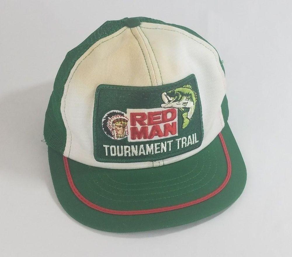 fc3b1b904cc Vtg Red Man Tournament Trail Trucker Hat Cap Swingster Snapback Green Patch   Swingster  TruckerHat