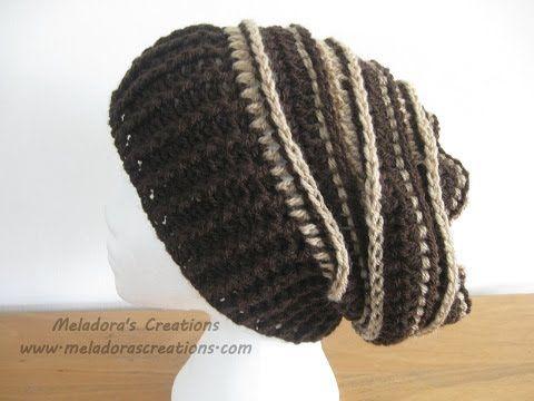 Men´s crochet slouchy beanie / Gorro caído para hombres (bebés ...