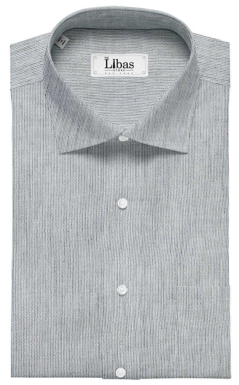 d626dc6446a Raymond Men s White Polyester Khadi Look Self Striped Shirting Fabric