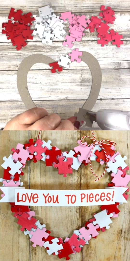 How cute is this Valentine's Day wreath?! It's easy enough for kids to make and all you need is a dollar store puzzle, recycled cereal box, and simple craft supplies! Click to get the free printable template!  #kidscrafts #ValentinesDay #Valentinecrafts