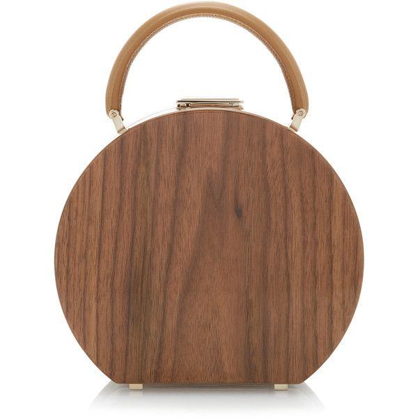 Buwood I18 Walnut Wood Top Handle Bag 3 795 Liked On Polyvore Featuring Bags Handbags Brown Wooden Handbag