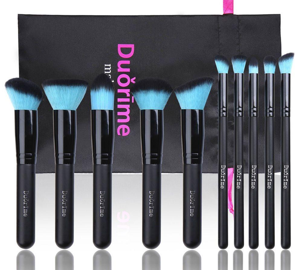 Duorime Amazing 10 Pcs Blue Kabuki Makeup Brush Set Beauty