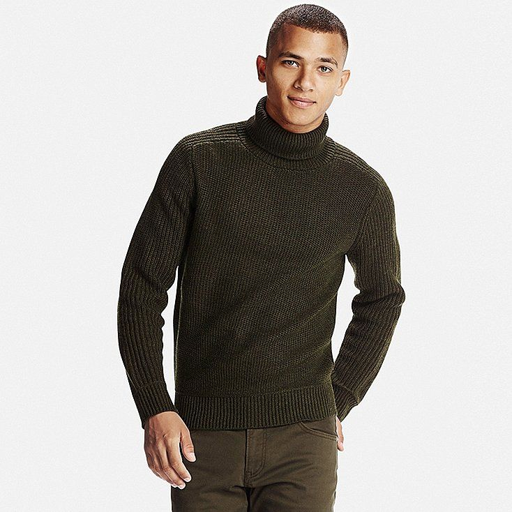MEN MIDDLE GAUGE TURTLENECK SWEATER | Sweater outfits men