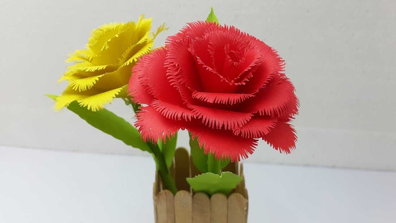 How To Make Paper Rose Flower Very Easy And Simple To Make Paper