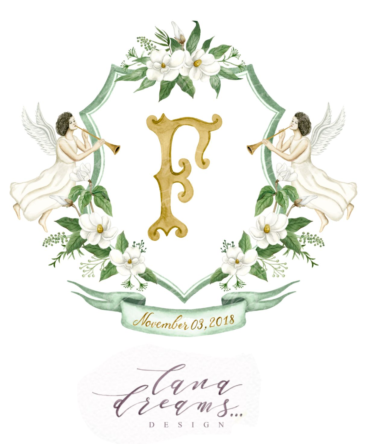 Custom Watercolor Wedding Crest Hand Painted Heraldry With