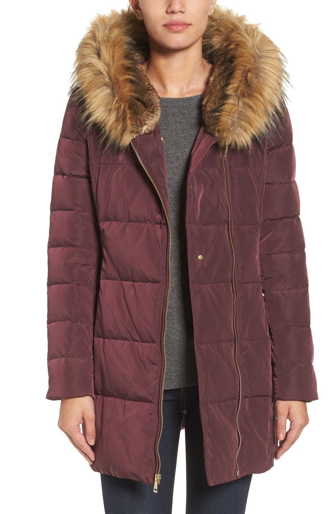 Cole Haan Quilted Jacket With Faux Fur Trim Hood Clothes And Such