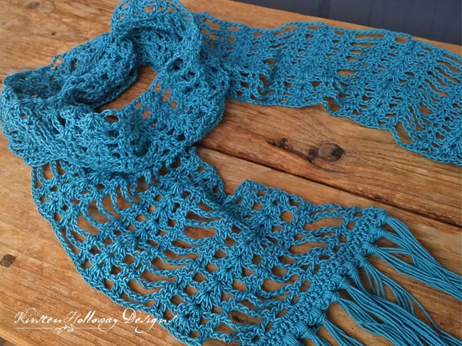If you've never experimented with lacework because it looks too difficult, let this simple, delicate scarf pattern put your worries to rest. The piece can be made wider of narrower depending on your tastes.