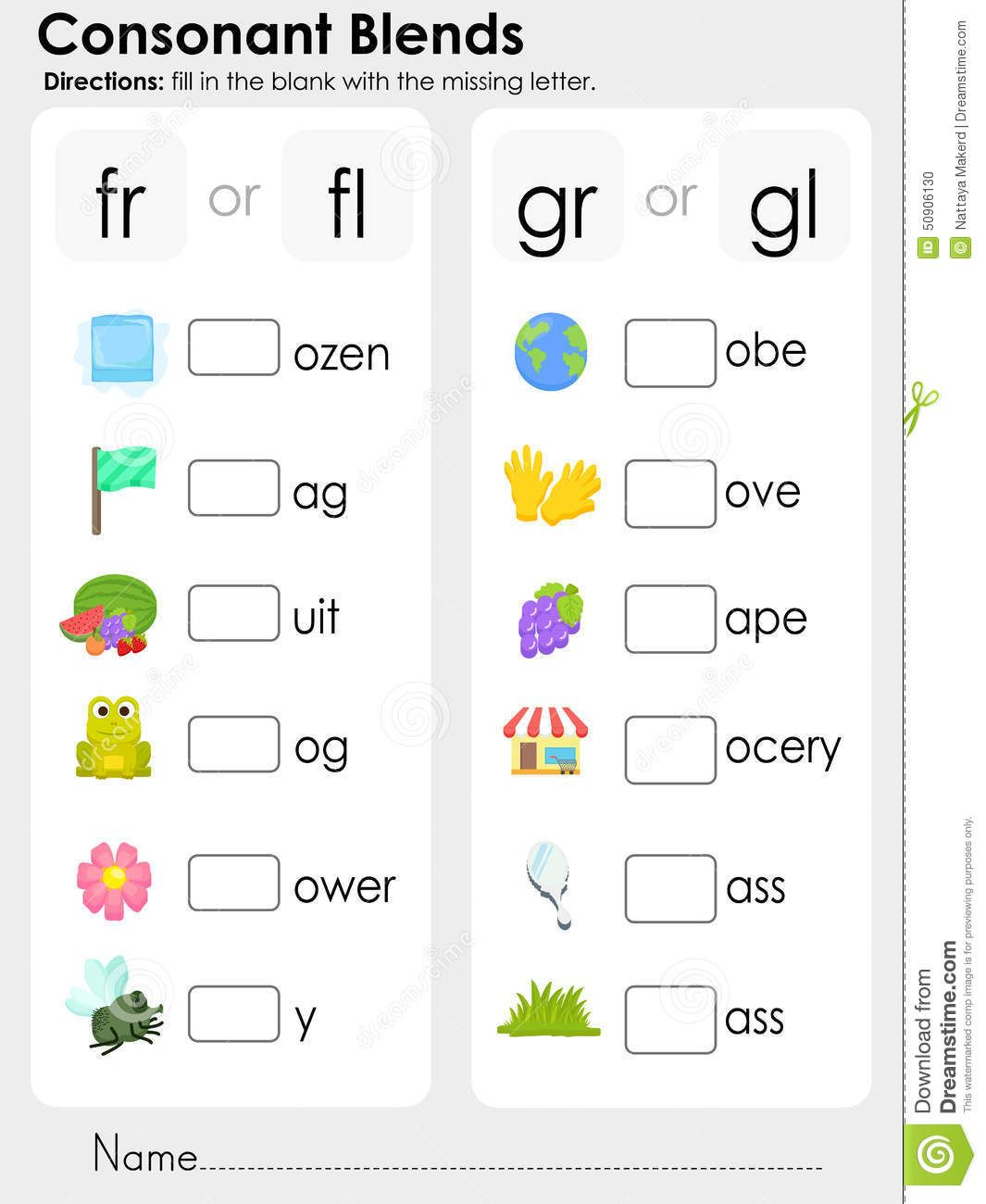 Worksheets Consonant Blends Worksheets consonant blends missing letter worksheet for education stock vector image 50906130